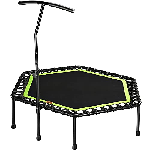 LIUXU Trampolín de Fitness, Mini trampolín silencioso de 48 Pulgadas, con Asas Ajustables, Sala de Fitness Trampoline, Bungee Saltando rebotes, Entrenador Cardio