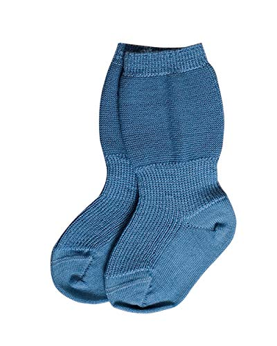 Grödo Foster Natur, Mädchen und Jungen Baby Socke aus 100% Bio-Merinowolle (56-62, Bergblau)