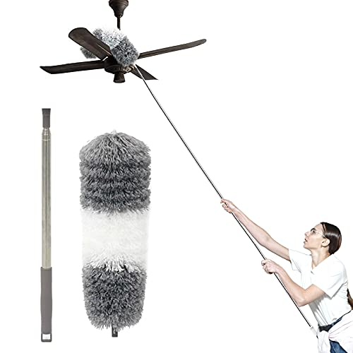 """Telescoping Microfiber Duster,Dsuter with 100"""" Stainless Steel Extension Pole,with Protective Cap,Detachable & Washable & Bendable,Cleaner for Ceiling Fan,Lamps,Chandelier,Blind,Wall,Cobweb,Car"""