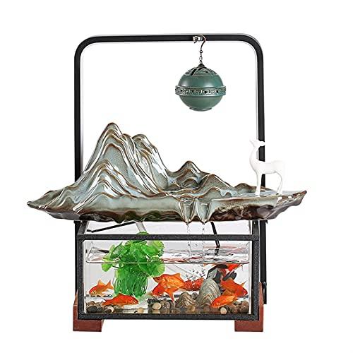 Fuente de Interior Fuente de escritorio de la mesa con luz LED ROCKERY ZEN Meditación de la cascada de la cascada interior adecuada para la decoración del escritorio del dormitorio del hogar Fengshui