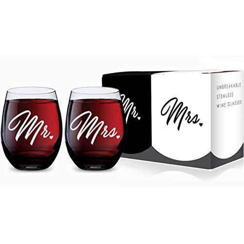 Mr and Mrs - Juego de 2 copas de vino sin tallo de plástico tritán irrompible