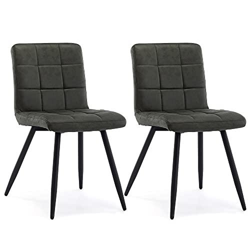 HNNHOME Set mit 2 x Cubana Polsterstühlen mit starken schwarzen Stahlbeinen, für Küche, Esszimmer, Lounge, Wohnzimmer, Empfang (grünkohlfarben, Stoff)