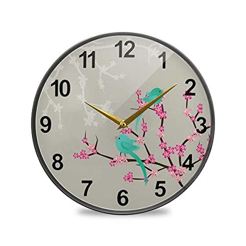 Reloj de Pared para baño Cereza con pájaro Reloj de Pared Decorativo de 10 Pulgadas Reloj de Cocina silencioso Que no Hace tictac