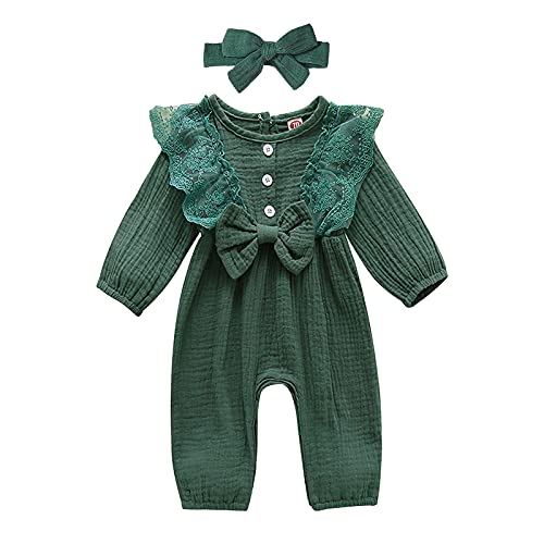 baskopa Baby Girl Outfits 18-24 Months Ruffle Long Sleeve Romper Linen Bodysuit Jumpsuit with Bowknot Headband Fall Outfits