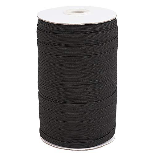 3/8' (10mm) Elastic Band for Sewing Braided Flat Stretch Elastic Cord String 100 Yards Black Knitting Crafting Elastic Ear Tie Strap