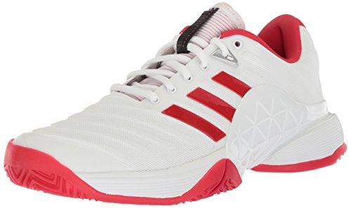 adidas Women's Barricade 2018 W Tennis Shoe, White/Scarlet/Scarlet, 5.5 M US