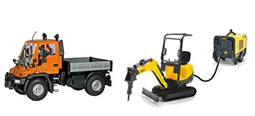 Simba 203828005 Wacker Neuson Camion Unimog + Veicolo con Martello Pneumatico E Generatore Elettrico - Include 1 Personaggio