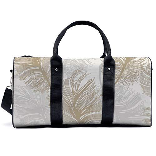 Sports Gym Bag,Crown Wallpaper Crown Plume Metallic Foil Gold Leaf Handbag Yoga Bag Shoulder Tote Weekend Bag Travel Holdall Duffel Bag for Adult Men Women