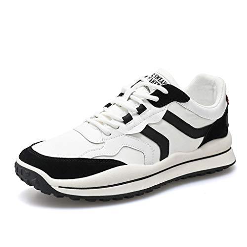 WggWy Primavera Otoño Hombre Zapatos Informales Transpirables Moda All Match Deporte Hombre Retro Deporte Casual Zapatos Hombre Redondo Zapatos Planos Zapatos Blancos 44