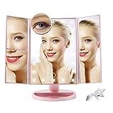 YXYH Casa Iluminado Vanidad Espejo for Maquillarse, 1x 2X 3x10x Ampliación ABS USB Batería 180 ° Ajustable LED Vidrio de HD Encimera Espejos Tocador Salón Mirror