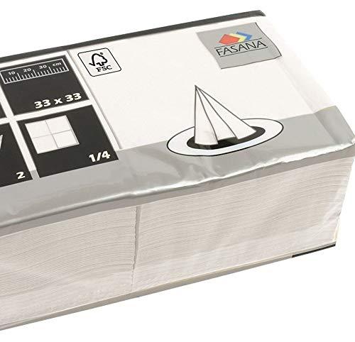 FASANA - Servilletas de papel (100 unidades, 2 capas, 33 x 33 cm), color blanco