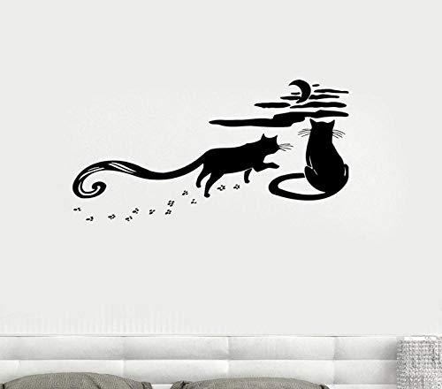 Muursticker 42 x 81 cm katten natuur nacht romantische maan hemel wandlamp wandbehang van PVC moderne decoratie waterdicht zelfklevend DIY creatief