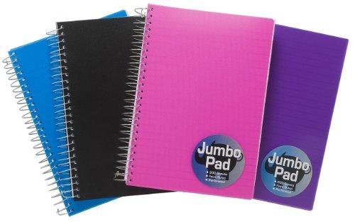 1 x A5 Azul Jumbo Cuaderno Spiral Bound Cojín De Nota 200 Hojas Perforado Oficina/Escuela/Estudiante