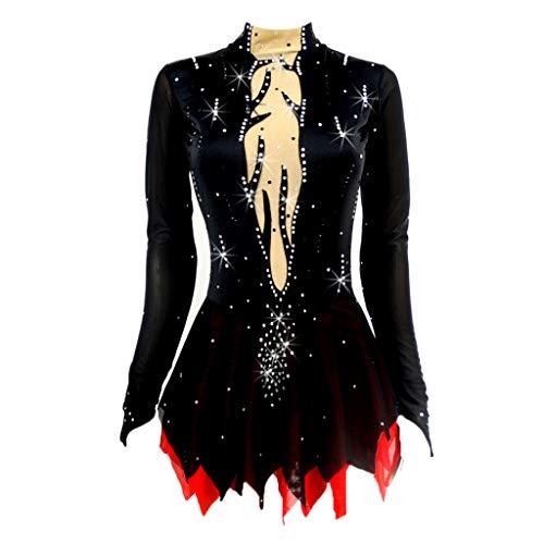 Fenteer Eiskunstlaufkleid Damen Mädchen Skating-Anzug Kürkleid Eiskunstlauf Rollkunstlauf Kleid - Hohe Elastizität - Training Skating Kostüm - 160