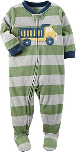 Carter's Boys' 12M-8 One Piece Striped Truck Fleece Pajamas Green 12 Months