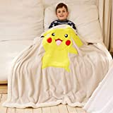 Pikachu Throw Blanket for Kids, 3D Cartoon Embroidery Sherpa Blanket Boys and Girls Gifts