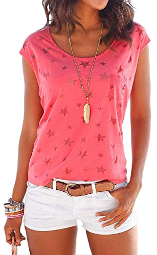 Damen Kurzarm Sommer Shirt Ärmelloses mit Sternenmuster Hemd Tee Tops Oberteile Lässige Casual T-Shirts Bluse (Pink, M)