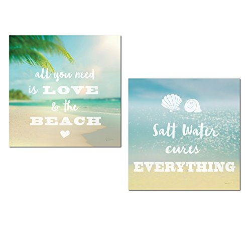Beautiful Inspirational All You Need is Love and The Beach and Salt Water Cures Everything' Ocean Photograph Set by Sue Schlabach; Nautical Coastal Decor; Two 12x12in Paper Posters