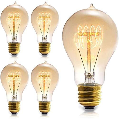 Edison Vintage Glühbirne 6W A19 Dimmbar Glühbirne E27 Antike Dekorative Glühbirne Bernstein Edison Glühlampen Birne Retro-Glühlampen (6W 4 Stück)