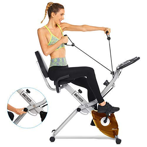 Drohneks 3-in-1 Exercise Bike, Stationary Foldable Magnetic Upright Recumbent Cycling,Adjustable Resistance,Best Folding Indoor Exercise Machine with APP and Arm Resistance Bands Perfect for Home Use