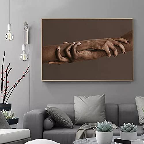 yunxiao Impresiones en Lienzo Pintura en Lienzo Hombre y Mujer dándose la Mano Entre sí Pintura Carteles e Impresiones Lienzo Pintura Mural para Sala de Estar Decoración nórdica 50x70cm