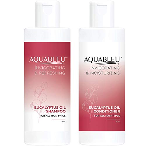 Aquableu Eucalyptus Shampoo & Conditioner Set - Invigorating & Moisturizing - Anti-Bacterial & Anti-Dandruff - Sulfate & Paraben Free - For color treated hair - For Men & Women. (8 oz)