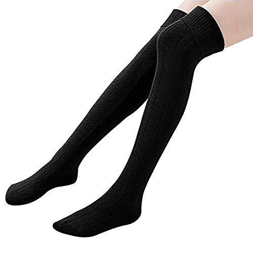 Homingg Knee High Socks 1 Paar Halten Overknee Strümpfe Stricken Sport Socken … (Black)