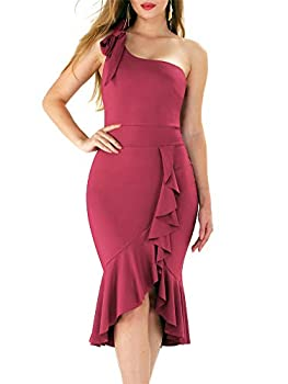 Adogirl Semi Formal Dresses for Women - Sexy Summer Wedding Guest Dress Bodycon Party Ruffle Dresses High Low Peplum Midi Dress Wine Red