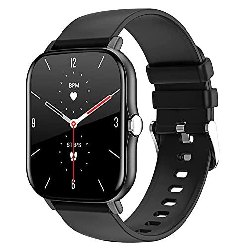 Reloj Inteligente, Con Monitor Frecuencia Cardíaca, Monitor Actividad Física Con Pantalla Táctil Completa 1,7 Pulgadas, Monitor Actividad, Podómetro IP68, Reloj Inteligente Con Monitor Sueño,Negro