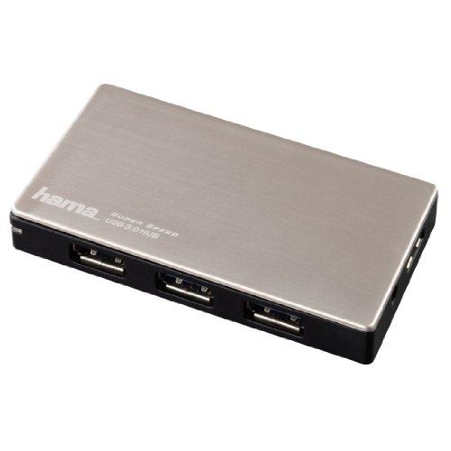 Hama USB-3.0 Hub 4-fach (USB-Verteiler mit intelligenter Ladefunktion, Adapter mit automatischer Geräteerkennung mit Netzteil und USB-Kabel, Alugehäuse) silber