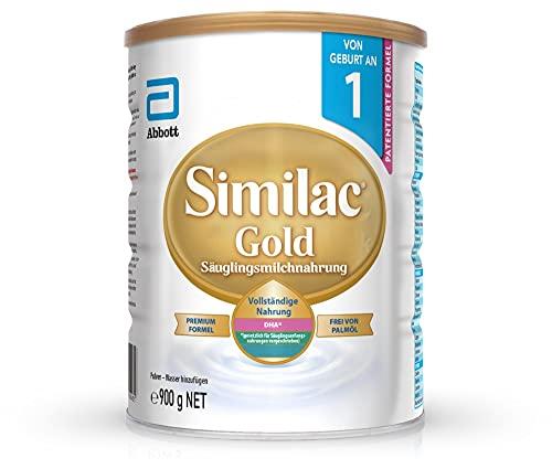 Similac Gold Anfangsmilch Phase 1 – Palmölfreie Babymilch mit DHA, ab der Geburt, 900 g