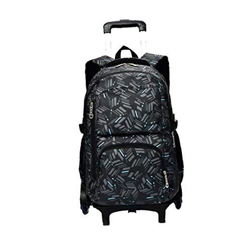 xuew Boy - Borsa trolley in tela per la scuola dei bambini Ragazze, zaini, bagagli, libro tasche nero