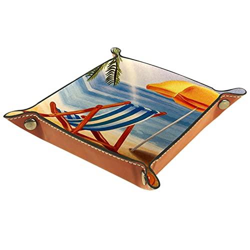 LXYDD Bandeja de Valet de Cuero Multiusos Caja de Almacenamiento Organizador de bandejas Se Utiliza para almacenar pequeños Accesorios,Playa Tropical Puesta de Sol con Silla sombrilla Flipflop