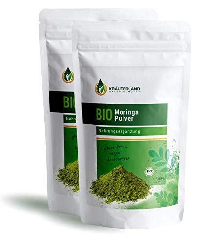 Kräuterland Bio Moringa Pulver 1000g - 100% rein in Premiumqualität (2 x 500g)