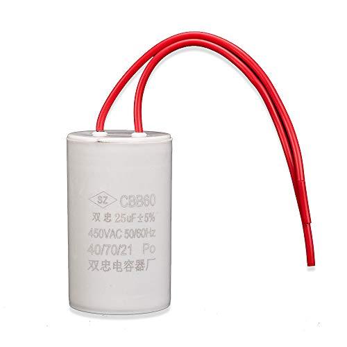 ICQUANZX Condensatore per Piccoli volumi del Motore della Lavatrice a Doppio Filo 25UF CBB60 AC 450V