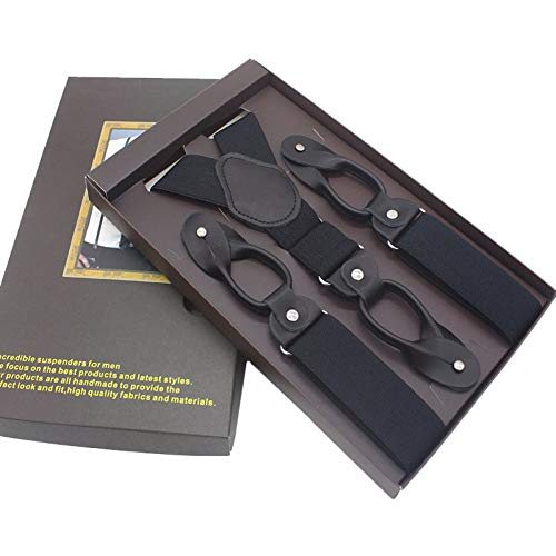 DYDONGWL Suspenders/Man's Suspenders 6 Button Brace Strap Mode Verstelbare trekkende ligamenten 3,5 X 120cm zonder doos