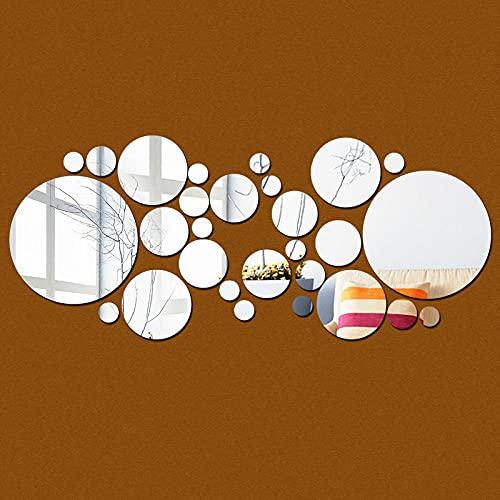 Póster Etiqueta de la pared de bricolaje Etiqueta 3D Espejo acrílico Habitación moderna Decoración de baño-Plata