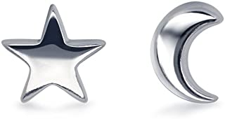 Tiny Moon and Star 925 Sterling Silver Stud Earring Star Earring (5mm / 8mm)