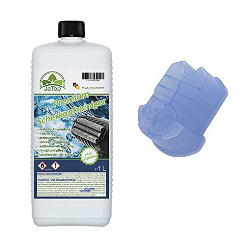 JaTop Scherkopfreiniger Nachfüllflüssigkeit + 1 Kartusche (leer) [1l pro Flasche] - geeignet zum Nachfüllen von Braun Clean & Renew Synchro Activator & Pulsonic Series Made in DE