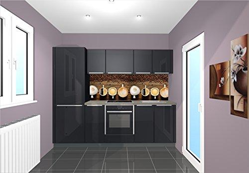 Küchenrückwand / Nischenverkleidung / Fliesenspiegel perfekt für die individuelle Küche - 180x55cm (BxH) Motiv: Kaffeesorten