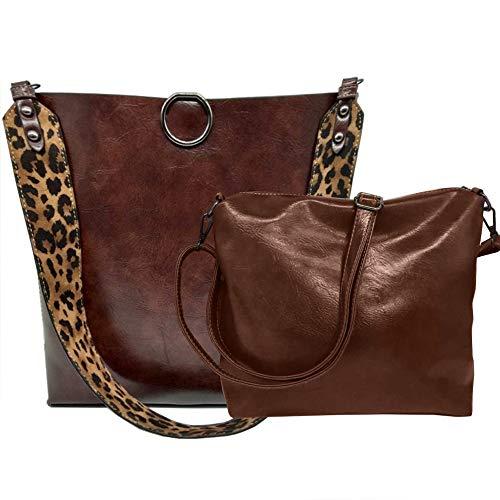 FiveloveTwo Damen 2Pcs Tasche Set PU Leder Mode Leopard-Druck Handtasche Henkeltasche Umhängetasche Schultertasche Shopper Tragetaschen Taschen Kaffee