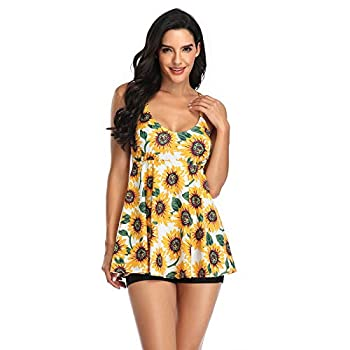 Women s Floral Swimdress High Waisted Sunflower Swimsuit Swim Dress with Shorts for Women Yellow