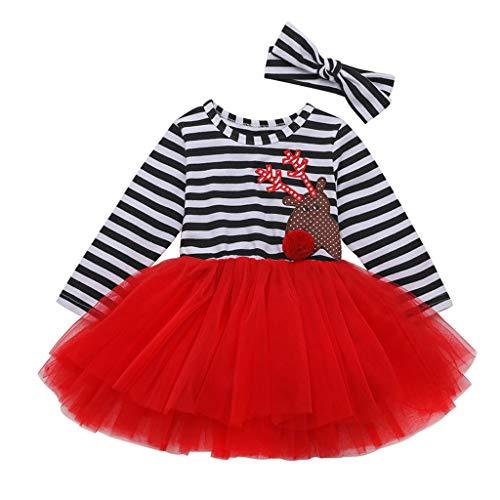 Ansenesna Baby Weihnachten Kleid Mädchen Prinzessin Baumwolle Soft Elegant Streifen Weihnachts Kleider Weihnachtsmann Cartoon Kleidung (110, Rot 1)