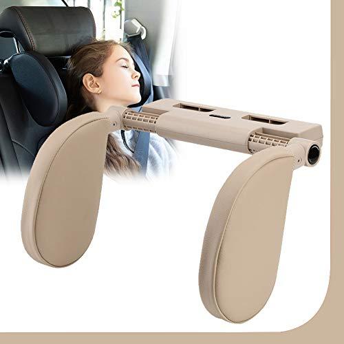 Almohada del Cuello del Coche para Dormir En El Automóvil, Reposacabezas Coche, Head Cushion Neck Protect Pillow Head Rest para Niño Adulto,Beige