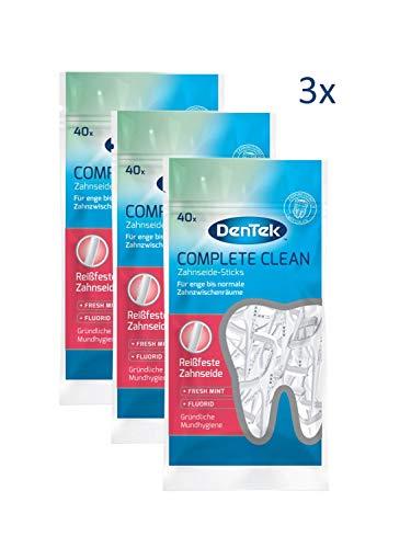 Dentek Complete Clean Zahnseide Sticks - reißfest - Zahnreinigung der Zahnzwischenräume - Minzgeschmack - Fluorid - Zungenschaber - Zahnstocher, 3 x 40 Stück