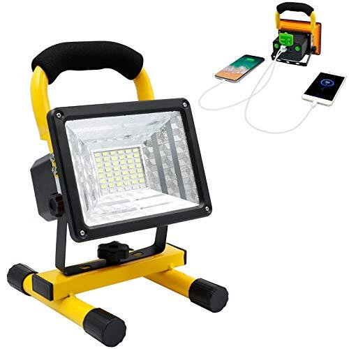 Flutlicht LED Akku, 30W 48 LED Wiederaufladbar LED Strahler Akku, Wasserdicht Weißes Licht LED Baustrahler Akku Wandern Notfall-Autoreparatur mit USB-Anschlüssen zum Laden von Mobilen Geräten