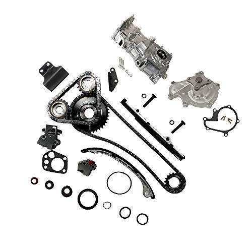 Timing Chain Tensioner Guide Rail Cam Sprocket Crank Sprocket Water Pump Oil Pump Kit Compatible with 1993-1997 for Nissan Altima 2.4L 2389CC L4 DOHC 16 Valve ENG CODE'KA24DE'