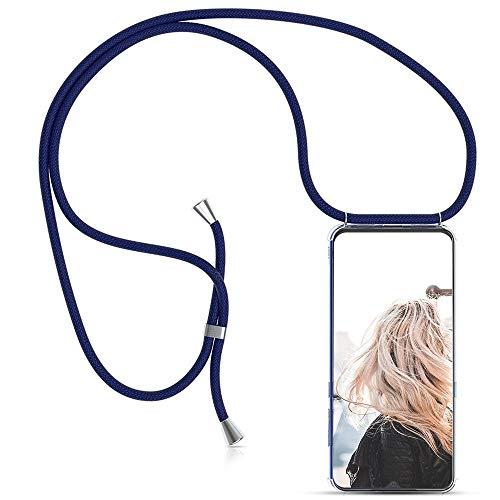 MXKOCO Carcasa de movil con Cuerda para Colgar Xiaomi Redmi S2 - Funda para Xiaomi Redmi S2 Case con Correa Colgante/TPU Necklace con Banda- con Cordon para Llevar en el Cuello - Azul Oscuro