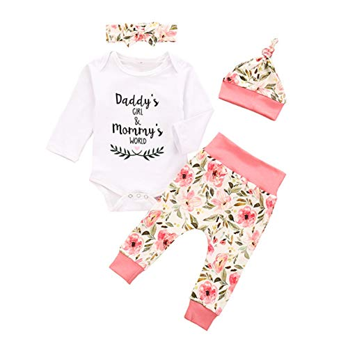 Hongyuangl I am My Daddy's Girl and My Mommy's World Sommer Sommer Herbst Baby Mädchen Outfits Neugeborene Strampler Kleidung Set Langarm Tops und Bloomers Hosen mit Stirnband
