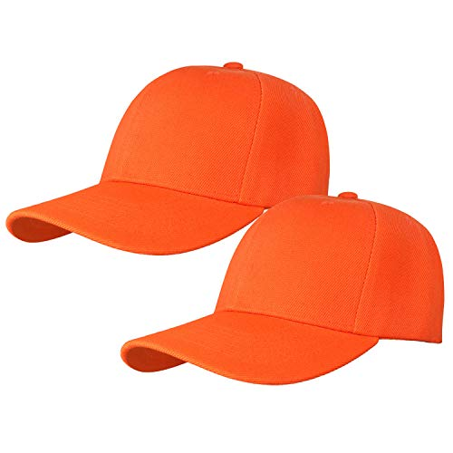 2pcs Baseball Cap for Men Women Adjustable Size Perfect for Outdoor Activities Orange/Orange
